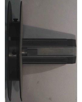 Poulie à embout monobloc avec téton métallique Ø 10 intérieur pour sangle jusqu'à 14mm et tube octo 40 / Ø extérieur 150mm
