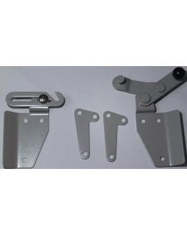 Verrou de jalousie Deprat gris en aluminium avec 2 contre plaque
