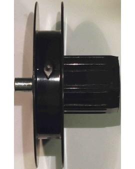Poulie octo 40 à embout monobloc Ø 114mm avec téton métallique extérieur Ø 10pour sangle de 14mm