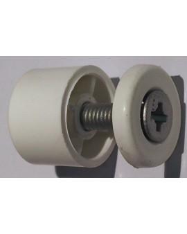 Butée en linteau ronde avec rondelle et vis Longueur 15 (la paire) blanc