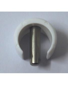 Clip de fixation rapide pour tube Ø15 extérieur blanc avec goupille inox