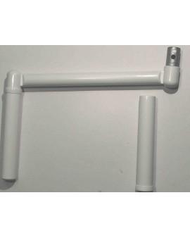 Poignée manivelle profil pour tube Ø12 blanc avec liseret noir