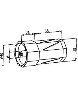 Embout rouge avec pivot interieur Ø 11 s'utilise avec poulie 2002331/2002332/2002334 et palier 2003599 sur tube octo 40