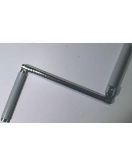 Manivelle acier chromé Poignée PVC séparée Bras de 180mm pour tube 6 Pans 10 gris