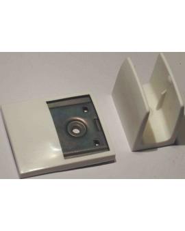 Bloqueur manivelle clip+plaquette déport blanc